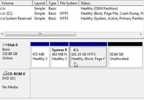 The Windows Drive Manager Shows the 250 Gigabyte Drive as the Primary Drive